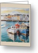 Galway Greeting Cards - Galway Harbour Greeting Card by Vanda Luddy