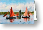 Irish Greeting Cards - Galway Hookers Greeting Card by Conor McGuire