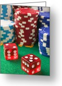 Games Photo Greeting Cards - Gambling dice Greeting Card by Garry Gay