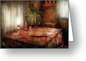 Table Cloth Greeting Cards - Game - Checkers - Checkers Anyone Greeting Card by Mike Savad