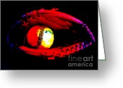 Baseball Mitt Greeting Cards - Game night Greeting Card by Lj Lambert