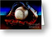 Baseball Mitt Greeting Cards - Game Over Greeting Card by Lj Lambert