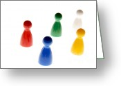 Game Piece Greeting Cards - Game pieces in various colours Greeting Card by Bernard Jaubert