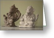 Hand Made Ceramics Greeting Cards - Ganapati idols Greeting Card by Mandar Marathe