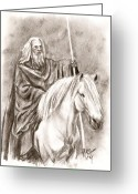 Wizard Drawings Greeting Cards - Gandalf with Shadowfax Greeting Card by Maren Jeskanen