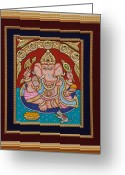 Relief Work Greeting Cards - Ganesh ji Tanjore Art Greeting Card by Vimala Jajoo