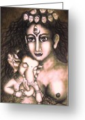 Goddess Posters Greeting Cards - Ganesha  and Kali Greeting Card by Sri Mala