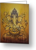 Snake Painting Greeting Cards - Ganesha darshan Greeting Card by Vrindavan Das