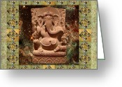 Sacred Art Digital Art Greeting Cards - Ganesha Green Border Greeting Card by Susan Ragsdale
