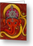 Om Greeting Cards - GaneshaOm Greeting Card by Sabina Espinet