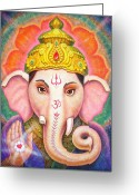 Om Greeting Cards - Ganeshas Blessing Greeting Card by Sue Halstenberg