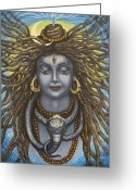Snake Painting Greeting Cards - Gangadhara Shiva Greeting Card by Vrindavan Das