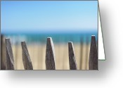 Fence Row Greeting Cards - Ganivelles At Ste Maxime Beach, Golfe De St-tropez Greeting Card by Alexandre Fundone