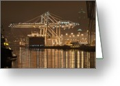 Crane Greeting Cards - Gantry Crane At Night Greeting Card by Ilona Berzups