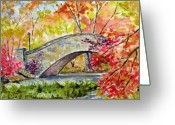Landscape Drawings Greeting Cards - Gapstow Bridge in November Greeting Card by Chris Coyne