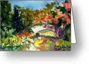 Central Painting Greeting Cards - Gapstow Bridge in October Greeting Card by Chris Coyne