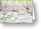 Central Drawings Greeting Cards - Gapstow in winter Greeting Card by Chris Coyne
