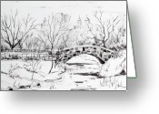 Central Drawings Greeting Cards - Gapstow with snow Greeting Card by Chris Coyne