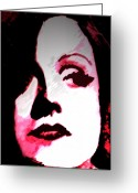 Greta Garbo Greeting Cards - Garbo Sees Red Greeting Card by Jennifer Ott