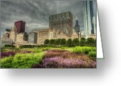 City Garden Greeting Cards - Garden Amongst the Urban Sky Scrapers of Chicago Greeting Card by Noah Katz