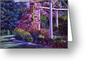 Most Greeting Cards - Garden Arbor Greeting Card by David Lloyd Glover