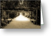 Garden Pathway Greeting Cards - Garden Arbor in Sepia Greeting Card by DigiArt Diaries by Vicky Browning