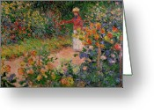 Picker Greeting Cards - Garden at Giverny Greeting Card by Claude Monet