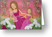 Fushia Painting Greeting Cards - Garden Belles Greeting Card by Samantha Shirley