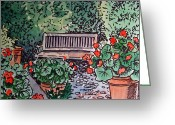 Sketchbook Greeting Cards - Garden Bench Sketchbook Project Down My Street Greeting Card by Irina Sztukowski