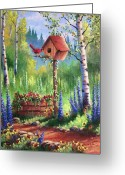 Path Greeting Cards - Garden Birdhouse Greeting Card by David G Paul