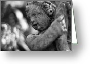 Eros Statue Greeting Cards - Garden Cherub Greeting Card by Rich Leighton