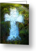 Sacred Digital Art Greeting Cards - Garden Cross Greeting Card by Lori Seaman