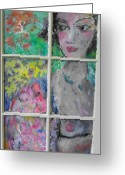 Nudes Glass Art Greeting Cards - Garden Delight Greeting Card by Mykul Anjelo