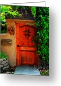 Screen Doors Greeting Cards - Garden doorway Greeting Card by Perry Webster
