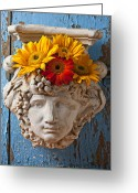 Planter Greeting Cards - Garden Face Greeting Card by Garry Gay