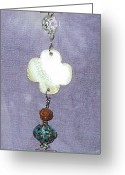 Sun Jewelry Greeting Cards - Garden Fob White Wood Shell Flower  Greeting Card by Cheryl Raber