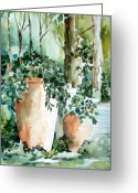 Italy Drawings Greeting Cards - Garden in Capri Greeting Card by Mindy Newman