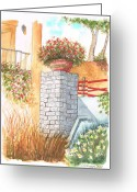 Los Angeles Painting Greeting Cards - Garden-in-venice-california Greeting Card by Carlos G Groppa