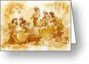 Steampunk Greeting Cards - Garden Party Greeting Card by Brian Kesinger