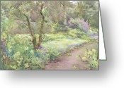 Anne Greeting Cards - Garden Path Greeting Card by Mildred Anne Butler