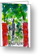 City Scene Drawings Greeting Cards - Garden Philadelphia Greeting Card by Marilyn MacGregor