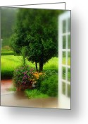 West Baden Greeting Cards - Garden Rain Greeting Card by Brandi Allbright