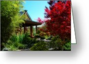 Reds Of Autumn Photo Greeting Cards - Garden Retreat Greeting Card by Lynn Bauer