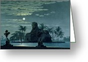 Nile River Greeting Cards - Garden scene with the Sphinx in moonlight Greeting Card by KF Schinkel