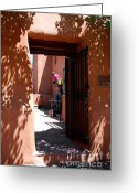 Pueblos Greeting Cards - Garden Sculptures Museum of Art in Santa Fe NM Greeting Card by Susanne Van Hulst