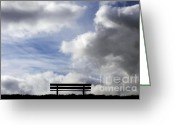 Empty Park Bench Greeting Cards - Garden seat Greeting Card by Fabrizio Troiani