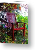 Slates Greeting Cards - Garden Seating Greeting Card by Pamela Patch