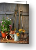 Shovel Greeting Cards - Garden shed with tools and pots  Greeting Card by Sandra Cunningham