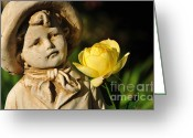 Little Boy Photo Greeting Cards - Garden Statue Greeting Card by Kaye Menner