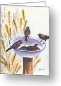 Feed Greeting Cards - Garden Visitors Greeting Card by Marsha Elliott